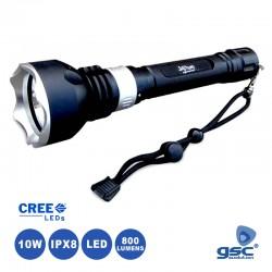 Lanterna LED 10w 800lm Aluminio Recargavel 2 Baterias 18650 p/ Mergulho