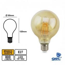 Lâmpada LED E27 7w Globo G80 2500k 800lm Vintage - GSC
