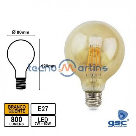 Lampada Led E27 7w Globo G80 2500k 800lm Vintage - GSC
