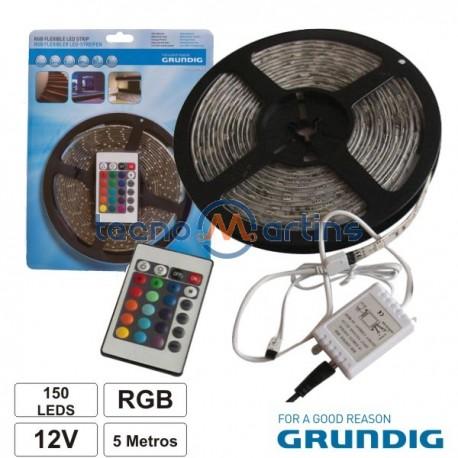 Kit Fita 300 LEDS 3528 Impermeável 12V 5M RGB C/Control Alim