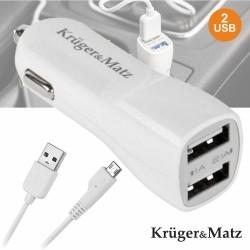 Adaptador Ficha Isqueiro 12V/24V / 2 USB 5V 2.1A - KRUGER MATZ