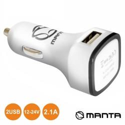 Adaptador Ficha Isqueiro 12V / 2 USB 5V 2.1A - MANTA