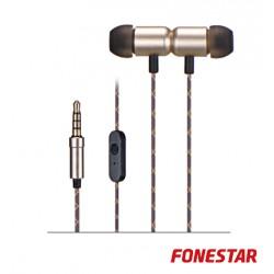 Auscultadores C/ Microfone Dourado - FONESTAR