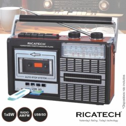 Radio Gravador K7 Portatil Fm/Am Usb/Sd - 8w - Ricatech