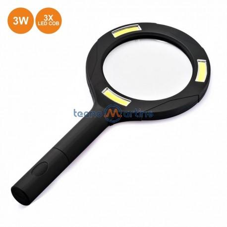 Lupa Zoom 3x C/ 3 LEDS Cob 250lm