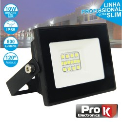 Projector LED 10W 230V Branco Frio 800lm Preto - PROK