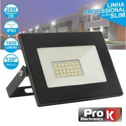 Projector LED 20W 230V Branco Frio 1600lm Preto - PROK
