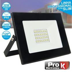 Projector LED 30W 230V Branco Frio 2400lm Preto - PROK