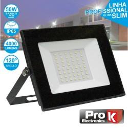 Projector LED 50W 230V Branco Frio 4000lm Preto - PROK