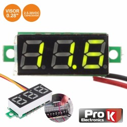 Voltimetro Digital LED Verde 2.5-30Vdc p/ Painel