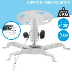 Suporte Vídeo Projector Tecto Extensível 8KG 360º BRANCO