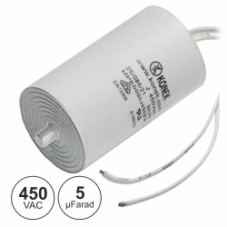 Condensador Arranque 5UF 450V + Terra c/ Fios