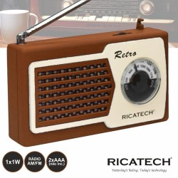 Radio Portatil AM/FM 1W Castanho - RICATECH