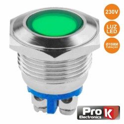Interruptor Redondo De Metal OFF-ON 230V Verde