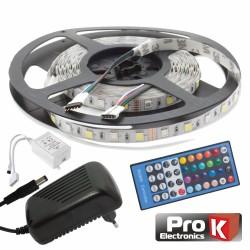 Kit Fita 300 LEDs 5050 12V 5M RGB+W c/Comando