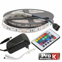 Kit Fita 300 LEDs 5050 12V 5M RGB c/Comando
