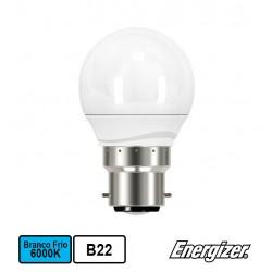 Lâmpada LED Esférica 220V BAIONETA B22 5,9W BRANCO F. 6000K 520Lm - ENERGIZER