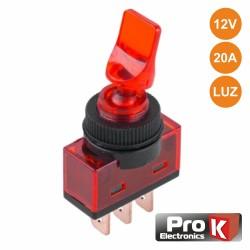Interruptor Alavanca 2 Pos (On-Off) 20a 12v Luminoso Vermelho