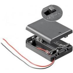 Suporte Pilhas AA x 3 C/ Fios Cx + Interruptor
