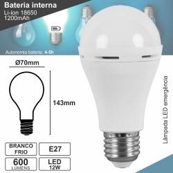Lampada Led E27 12w 6000k 600lm C/ Luz Emergência
