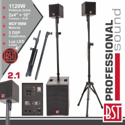 Conjunto Som Bi-Amplificado PRO 2.1 1120W DSP - BST