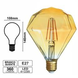 Lampada LED Filamento E27 4w 2200k 360l (Formato Cristal)