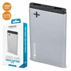 POWERBANK 10000MA c/ Ficha Micro USB 2USB Prateado