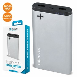 POWERBANK 16000MA c/ Ficha Micro USB 2USB Prateado