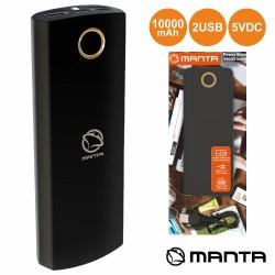 POWERBANK 10000MA c/ Ficha Micro USB 2USB Preto - MANTA