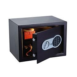 Cofre Electronico Aço 20x31x10cm C/ Chave Segurança Preto - OPTICUM