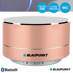 Coluna Bluetooth Portátil 5W SD/BAT/LED Rosa Gold - Blaupunkt
