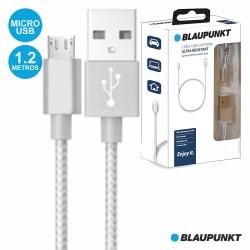 Cabo USB-A 2.0 Macho / Micro USB-B Macho 1.2M Prateado - BLAUPUNKT