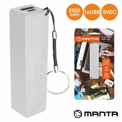 POWERBANK 2800MA c/ Ficha USB Branco - MANTA