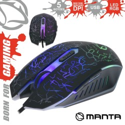 Rato Óptico 800/2400 Dpi Usb P/ Gaming LED Rgb - Manta