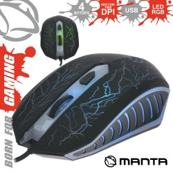 Rato Óptico 800/1800 Dpi Usb P/ Gaming LED Rgb - Manta