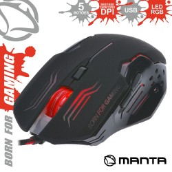 Rato Óptico 800/3200 Dpi Usb P/ Gaming LED Rgb - Manta