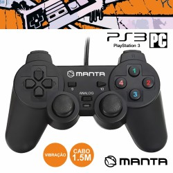 Comando P/ Playstation 3 e PC C/ Vibração - Manta