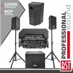Conjunto Som Bi-Amplificado PRO 2.1 2200Wmáx MDF - BST