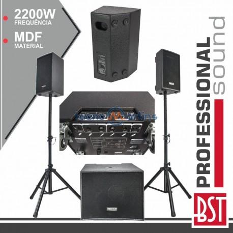 Conjunto Som Bi-Amplificado PRO 2.1 2200Wmáx MDF BST