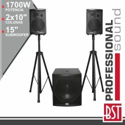 Conjunto Som BI-Amplificado PRO 2.1 1700Wmáx - BST