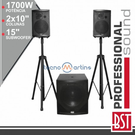 Conjunto Som BI-Amplificado PRO 2.1 1700Wmáx BST