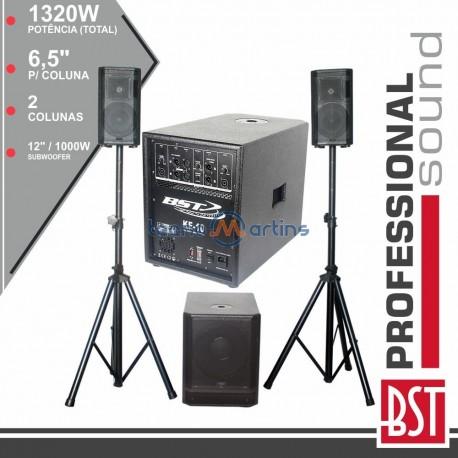 Conjunto Som BI-Amplificado PRO 2.1 1320WMÁX MDF BST