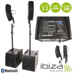 Sistema Som Portátil 120Wmáx Usb/Bt/Fm/Rec Leds Ibiza