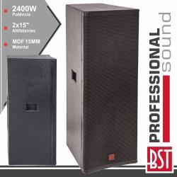 """Coluna Passiva PRO 2x15"""" 2400W 15MM MDF BST"""