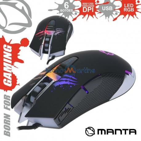 Rato Optico Usb 800/2400Dpi P/ Gaming C/ Leds RGB - MANTA