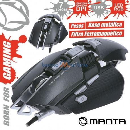 Rato Optico Usb 250/4000Dpi P/ Gaming Ajustável C/ Leds RGB - MANTA