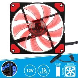 Ventoinha 12V 120X120X25MM c/ 15 LEDS VERMELHOS