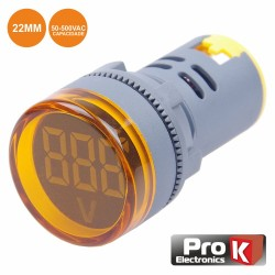 Voltímetro Digital LED Ambar 50V-500VAC 22mm - Prok
