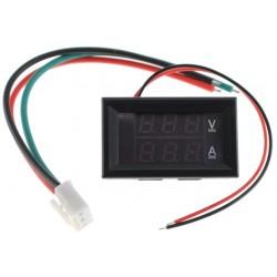 Voltímetro / Amperímetro Digital LED 0-100VDC / 0-10A