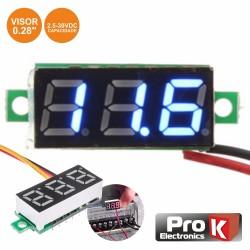 Voltímetro Digital LED Azul 2.5V-30VDC - PROK